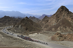 February 14, 2018 - Muscat, Oman - MUSCAT, SULTANATE OF OMAN - FEBRUARY 14 : Illustration picture of the peloton in the climb of Fanja montains during stage 2 of the 9th edition of the 2018 Tour of Oman cycling race, a stage of 167.5 kms between Sultan Qaboos University and Al Bustan on February 14, 2018 in Muscat, Sultanate Of Oman, 14/02/2018 (Credit Image: © Panoramic via ZUMA Press)
