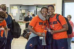 The ladies of the University of Virginia's Basketball Team arrive for the Paradise Jam Tournament  in St. Thomas at Cyril E. King Airport.  24 November 2015.  © Aisha-Zakiya Boyd