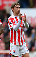 Marc Munisea of Stoke claps of the fans .Premier league match, Stoke City v West Ham Utd at the Bet365 Stadium in Stoke on Trent, Staffs on Saturday 29th April 2017.<br /> pic by Bradley Collyer, Andrew Orchard sports photography.