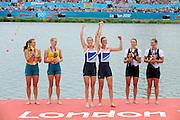 Eton Dorney, Windsor, Great Britain,..2012 London Olympic Regatta, Dorney Lake. Eton Rowing Centre, Berkshire[ Rowing]...Description;   Women's Pair, medals presentation  .Gold Medalist and Centre. GBR W2- Helen GLOVER (b) , Heather STANNING (s).Silver Medalist and Left. AUS.W2- Kate HORNSEY (b) , Sarah TAIT (s).Bronze Medalist and right.  NZL W2- Juliette HAIGH (b) , Rebecca SCOWN (s)  Dorney Lake. 12:25:18  Wednesday  01/08/2012.  [Mandatory Credit: Peter Spurrier/Intersport Images].Dorney Lake, Eton, Great Britain...Venue, Rowing, 2012 London Olympic Regatta...