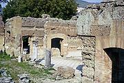 Roman archaeological site at Hadrian's Villa, Rome,Tivoli, Italy 1974
