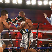 Ricardo Rodriguez (L) catches Jonathan Vidal with a left jab during a Telemundo Boxeo boxing match at the A La Carte Pavilion on Friday,  March 13, 2015 in Tampa, Florida.  Rodriguez won the bout. (AP Photo/Alex Menendez)