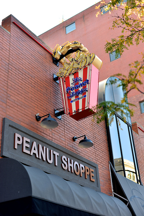 Exterior view of the sign for the Peanut Shoppe of Akron.