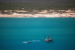 Jack-up rig off James Price Point north of Broome.  Woodside are planning an LNG processing hub at James Price Point.