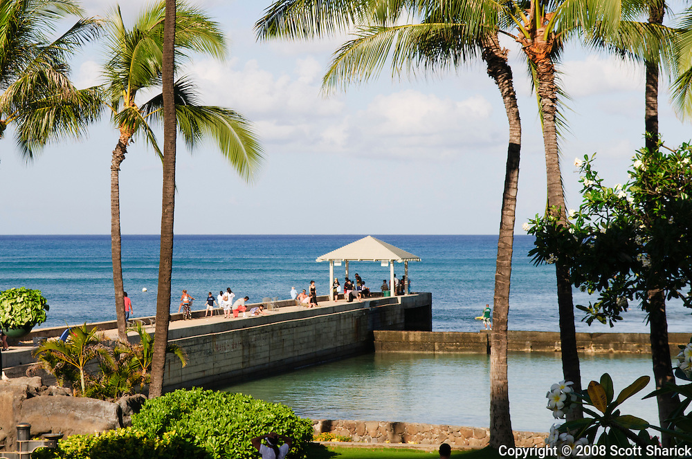 The Kapahulu Groin in Waikiki - a horizontal picture.