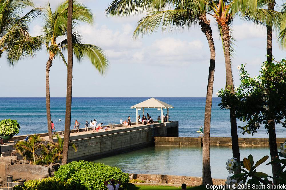 The Kapahulu Groin in Waikiki - a horizontal picture.