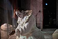"""Il back stage  del teatro della Tosse di Genova, dove i detenuti attori della compania della Fortezza hanno rammpresentato 'Hamlice """" tratto da 'Alice nel Paese delle meraviglie' , regia Armando Punzo. Ultimi accorgimenti prima dello spettacolo"""