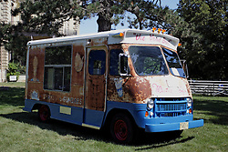 03 August 2013:  Antique Mr. Softee ice cream vendor van.<br /> <br /> Displayed at the McLean County Antique Automobile Association Car show at David Davis Mansion in Bloomington Illinois