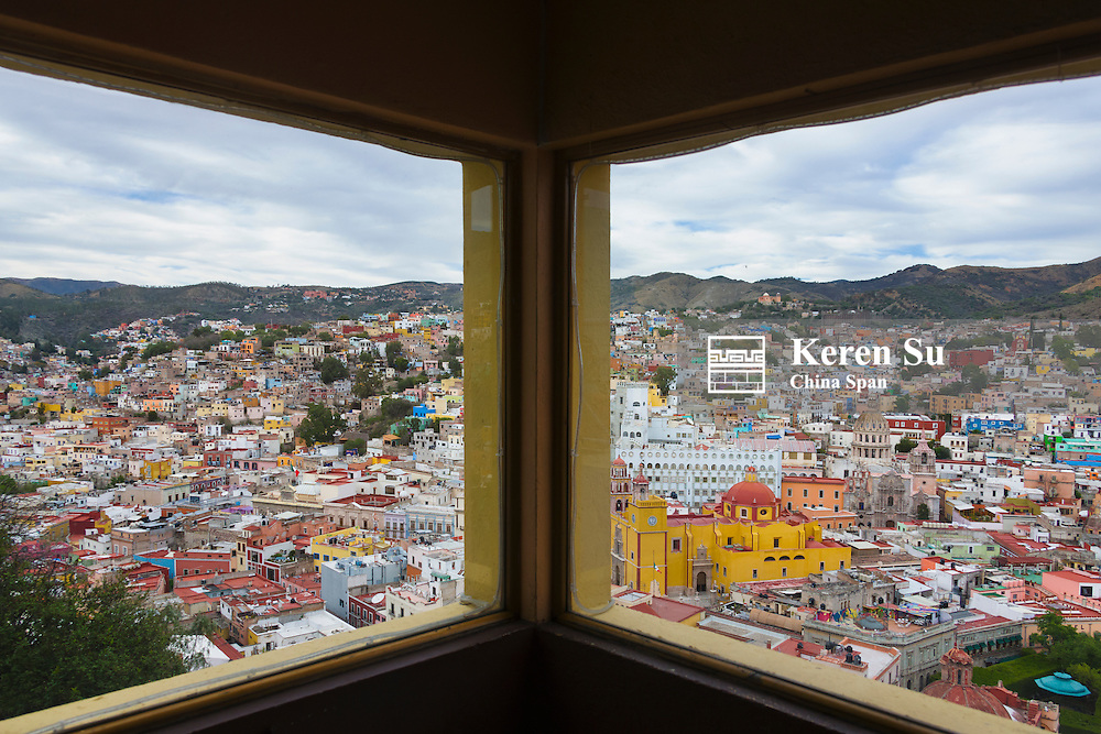 View of cityscape of Guanajuato from the cablecar, Mexico