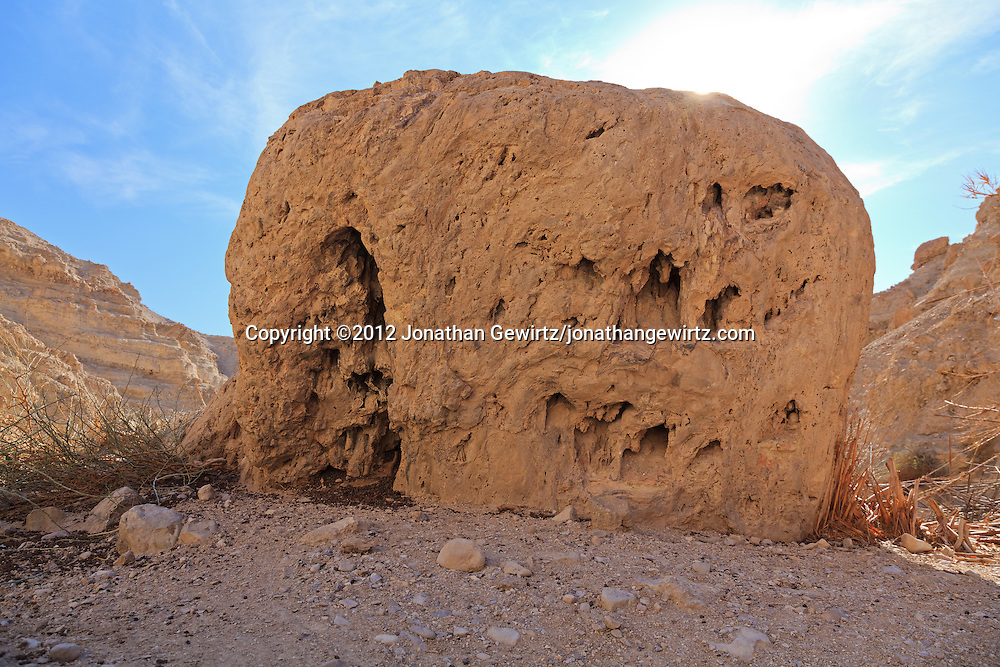 Rocks and other scenery along Nahal David canyon in the Ein Gedi nature preserve. WATERMARKS WILL NOT APPEAR ON PRINTS OR LICENSED IMAGES.