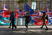 On the day that the EU in Brussels agreed in principle to extend Brexit until 31st January 2020 aka Flextension and not 31st October 2019, a Remainer lady carries an EU flag past Brexit Party flags and banners during a Brexit protest outside parliament, on 28th October 2019, in Westminster, London, England.