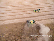 63801-08807 Soybean Harvest, John Deere combine harvesting soybeans - aerial - Marion Co. IL