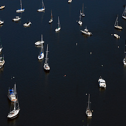 Aerial views of Sailboats in  Bar Harbor area of Maine