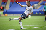 Josh Vela (Bolton Wanderers) crosses into the box during the Pre-Season Friendly match between Bolton Wanderers and Preston North End at the Macron Stadium, Bolton, England on 30 July 2016. Photo by Mark P Doherty.