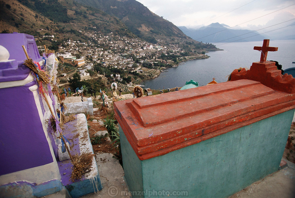 Cemetery above the village of San Antonio Palopo on Lake Aititlan, Guatemala.