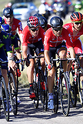 July 4, 2017 - Mondorf Les Bains / Vittel, Luxembourg / France - VITTEL, FRANCE - JULY 4 : GALLOPIN Tony (FRA) Rider of Team Lotto - Soudal and BENOOT Tiesj (BEL) Rider of Team Lotto - Soudal in action during stage 4 of the 104th edition of the 2017 Tour de France cycling race, a stage of 207.5 kms between Mondorf-Les-Bains and Vittel on July 04, 2017 in Vittel, France, 4/07/2017 (Credit Image: © Panoramic via ZUMA Press)