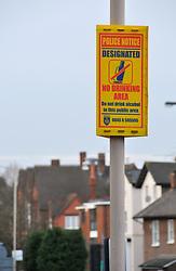 Police no drinking area sign; Reading; Berks UK
