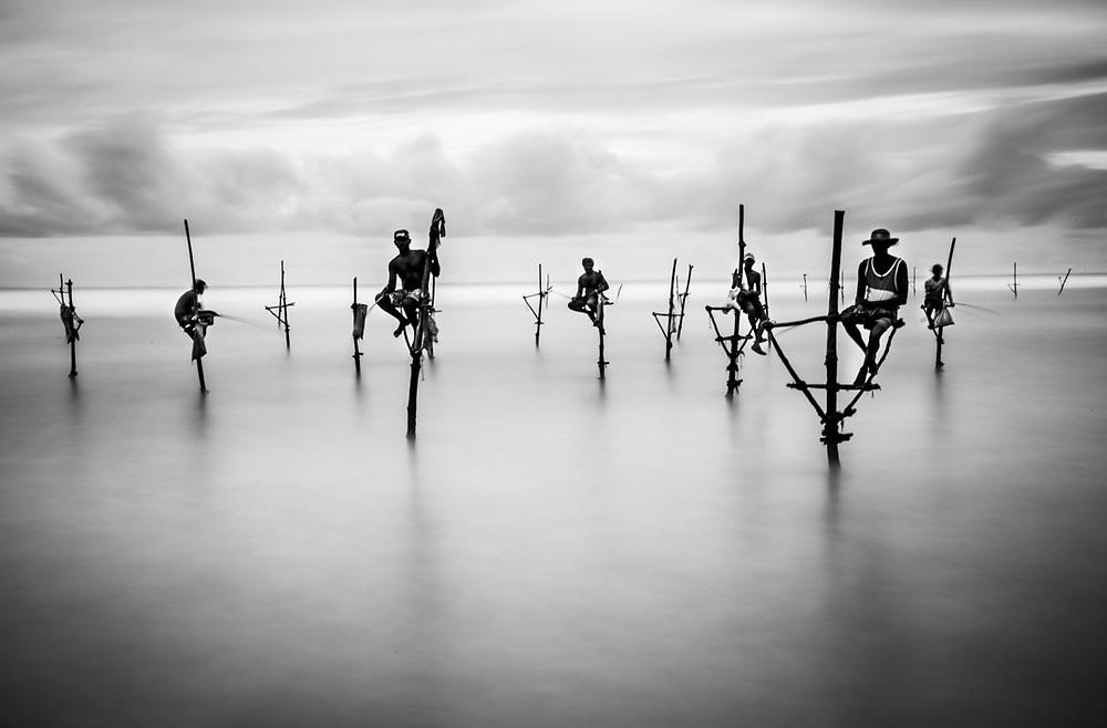 Stilt fishermen from Weligama, Sri Lanka.