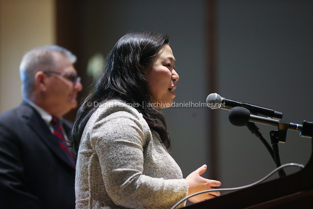 (2/13/20, FRAMINGHAM, MA)  Maria Robinson, D-Framingham, makes some remarks during the opening celebration of the new Chris Walsh Center for Educators and Families of MetroWest at Framingham State University on Thursday. [Daily News and Wicked Local Photo/Dan Holmes]