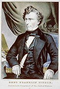 Franklin Pierce (1804-1869) American Democrat politician and lawyer, 14th President of the United States 1853-1857.    Colour lithograph half-length portrait of Pierce seated.