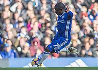 Football - 2016 / 2017 Premier League - Chelsea vs. WBA<br /> <br /> Ngolo Kante of Chelsea strikes the ball  at Stamford Bridge.<br /> <br /> COLORSPORT/DANIEL BEARHAM