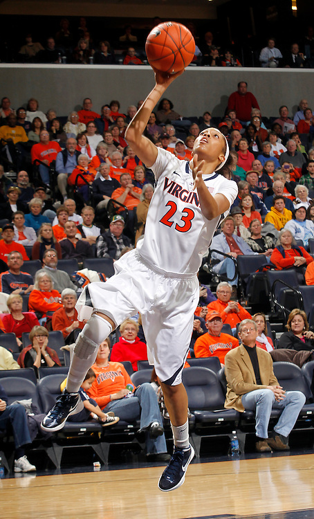 CHARLOTTESVILLE, VA- JANUARY 5: Ataira Franklin #23 of the Virginia Cavaliers handles the ball during the game against the North Carolina Tar Heels on January 5, 2012 at the John Paul Jones arena in Charlottesville, Virginia. North Carolina defeated Virginia 78-73. (Photo by Andrew Shurtleff/Getty Images) *** Local Caption *** Ataira Franklin