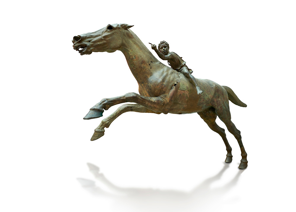 'Jockey of Artrmision' a Hellenistic bronze statue of a boy riding a horse. National Archaeological Museum Athens. Circa 140 BC. Cat No X 15177. Against white, <br /> <br /> Retrieved in pieces from a shipwreck of Cape Artemision in Euboea. The young jockey holds a rein in his left hand and a whip in his right. His face has a passionate expression with furrowas on his face. The pieces of the Bronze sculpture were reassembled in 1971. .<br /> <br /> If you prefer to buy from our ALAMY STOCK LIBRARY page at https://www.alamy.com/portfolio/paul-williams-funkystock/greco-roman-sculptures.html . Type -    Athens    - into LOWER SEARCH WITHIN GALLERY box - Refine search by adding a subject, place, background colour, etc.<br /> <br /> Visit our ROMAN WORLD PHOTO COLLECTIONS for more photos to download or buy as wall art prints https://funkystock.photoshelter.com/gallery-collection/The-Romans-Art-Artefacts-Antiquities-Historic-Sites-Pictures-Images/C0000r2uLJJo9_s0