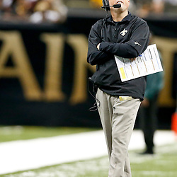 Sep 22, 2013; New Orleans, LA, USA; New Orleans Saints offensive coordinator Pete Carmichael during a game against the Arizona Cardinals at Mercedes-Benz Superdome. The Saints defeated the Cardinals 31-7. Mandatory Credit: Derick E. Hingle-USA TODAY Sports