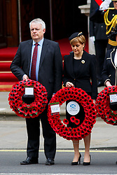 © Licensed to London News Pictures. 08/05/2015. LONDON, UK. SNP leader Nicola Sturgeon attending a service of remembrance at the Cenotaph in London marking the 70th anniversary of VE Day on Friday, 8 May 2015. Photo credit : Tolga Akmen/LNP