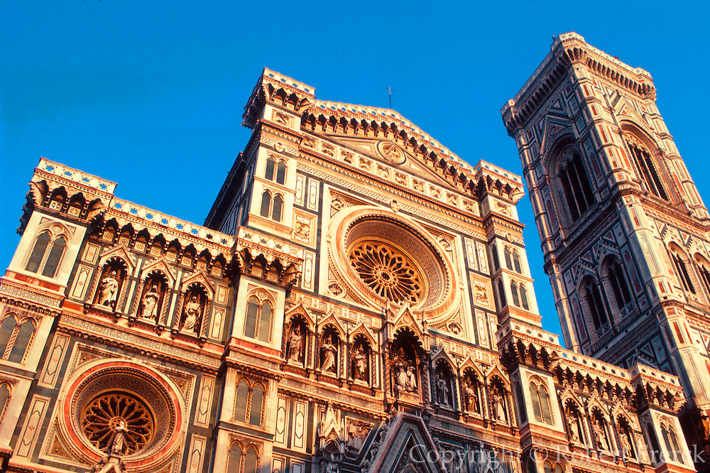 ITALY, FLORENCE Cathedral Santa Maria del Fiore (Duomo) 1296-1434 in Italian Renaissance style with marble mosaic facade and belltower