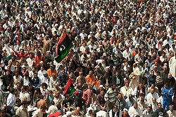 © licensed to London News Pictures. BENGHAZI. 15/04/2011.  Libyan revolutionairies at the Friday prayer in Benghazi listen to a sermon in rememberance of the dead across the country. Please see special instructions for usage rates. Photo credit should read ISMAIL NEGM/LNP