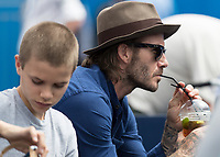 Tennis - 2017 Aegon Championships [Queen's Club Championship] - Day Four, Thursday <br /> <br /> Men's Singles: Round of 16 - Jordan THOMPSON (AUS) vs Sam QUERREY (USA)<br /> <br /> Sir David Beckham OBE sips his pims as he watches the tennis on centre court at Queens Club<br /> <br /> COLORSPORT/DANIEL BEARHAM