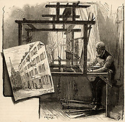 Weaving silk fringe, Spitalfields, London, England. This man could earn 3d (1.25 pence) per hour when work was available. The Spitalfields silk industry was begun by Huguenot refugees who left France after Revocation of Edict of Nantes (1685) by Louis XIV.
