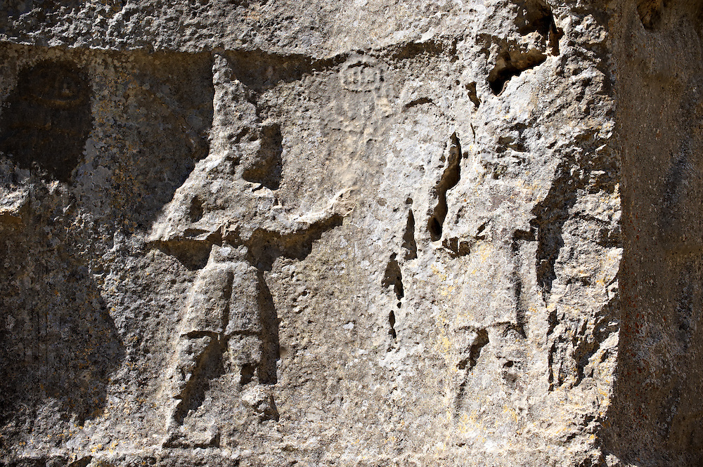 Procession of male gods in the 13th century BC Hittite religious rock carvings of Yazılıkaya Hittite rock sanctuary, chamber A, Hattusa, Bogazale, Turkey. .<br /> <br /> If you prefer to buy from our ALAMY PHOTO LIBRARY  Collection visit : https://www.alamy.com/portfolio/paul-williams-funkystock/yazilikaya-hittite-sanctuary-hattusa.html<br /> <br /> Visit our ANCIENT WORLD PHOTO COLLECTIONS for more photos to download or buy as wall art prints https://funkystock.photoshelter.com/gallery-collection/Ancient-World-Art-Antiquities-Historic-Sites-Pictures-Images-of/C00006u26yqSkDOM