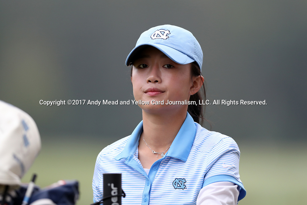 CHAPEL HILL, NC - OCTOBER 15: North Carolina's Cheni Xu (CHN) on the 1st tee. The third and final round of the Ruth's Chris Tar Heel Invitational Women's Golf Tournament was held on October 15, 2017, at the UNC Finley Golf Course in Chapel Hill, NC.