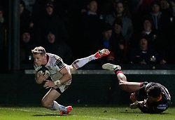 Ulster Rugby's Craig Gilroy breaks the tackle of Dragons' Gavin Henson<br /> <br /> Photographer Simon King/Replay Images<br /> <br /> Guinness Pro14 Round 10 - Dragons v Ulster - Friday 1st December 2017 - Rodney Parade - Newport<br /> <br /> World Copyright © 2017 Replay Images. All rights reserved. info@replayimages.co.uk - www.replayimages.co.uk