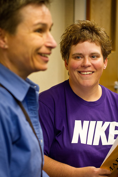 MADISON, WI - JUNE 11, 2014: Renee Currie smiles as she looks at her wife Shari Roll after receiving their official certificate of marriage at the Dane County Register of Deeds. Currie and Roll were the first same sex couple to be legally wed in the state of Wisconsin on Friday, June 6, 2014.