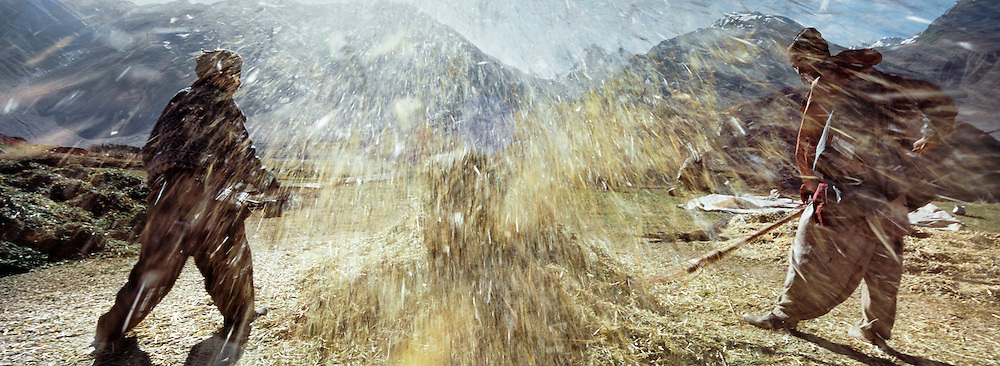In Chilma Rabbot, below the Boroghil pass entering Afghanistan's Wakhan Corridor, whinowing wheat. Matthieu and Mareile Paley trekking with a donkey named Clementine over 5 high passes across the Hindukush, between Pakistan and Afghanistan.