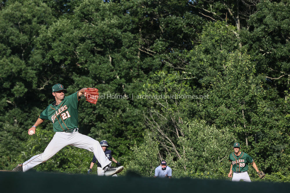 (7/6/20, MEDWAY, MA) Hopkinton's Jack Breslin delivers a pitch during the Senior Babe Ruth game against Medway at Medway High School in Medway on Monday. [Daily News and Wicked Local Photo/Dan Holmes]