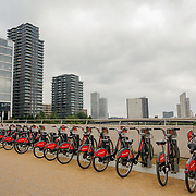 2021-09-20 Stratford, London, UK. Santander Cycles at Queen Elizabeth Olympic Park, East Bank.