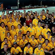 Start Domino Day 1999, Hans Klok, Wendy van Dijk en Matthias Scholten met alle bouwers