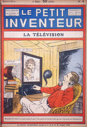 Idea for a video-phone using neon tubes to give the picture display. Illustration of a system proposed by Herbert Eugene Ives (1883-1952), American physicist and inventor, who worked at the Bell telephone laboratories on the transmission of mechanical video images. From 'Le Petit Inventeur'. (Paris, c1927).