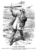 "A Late Beginner. Haldane (the Hawker). ""I've only just taken to this sport; But I mean to be a match for any of them."" (an Edwardian era cartoon of early aviation as Richard Haldane throws his plane to prepare an air force while above him fly the planes of France and Germany)"