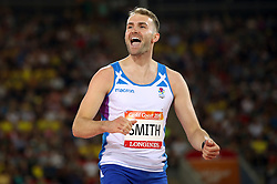 Scotland's David Smith celebrates during the Men's High Jump Final at the Carrara Stadium during day seven of the 2018 Commonwealth Games in the Gold Coast, Australia.