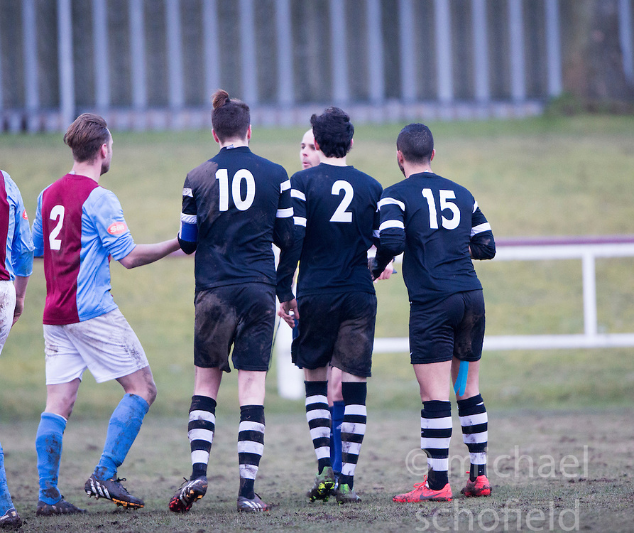 Ref sends off Whitehill Welfare John Hall (2) and Edusport Academy Almandine Riaha (15).<br /> Whitehill Welfare 2 v 1 Edusport Academy, South Challenge Cup Quarter Final played 7/3/2015 at Ferguson Park, Carnethie Street, Rosewell.