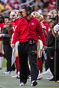 San Francisco 49ers head coach Kyle Shanahan walks the sideline during a NFL game between the San Francisco 49ers and the Arizona Cardinals at Levi's Stadium in Santa Clara, Calif., on November 5, 2017. (Stan Olszewski/Special to S.F. Examiner)