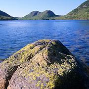 Large rock in Jordan Pond. Acadia National Park. Mount Desert Island, Maine