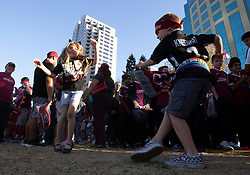 Oct 21, 2019; Sacramento, CA, USA; Five-year-old Zoey Lack, left and six-year-old Ryan McAninch, both of Elk Grove, Calif., dance to the music during a fan celebration event for the new Sacramento Republic FC MLS soccer team at Capital Mall. Mandatory Credit: D. Ross Cameron-USA TODAY Sports