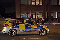 ©Licensed to London News Pictures 07/09/2020  <br /> Streatham, UK. The scene with police on guard. Police cordon off part of Streatham High road in Streatham, South London tonight after a knife attack.  Photo credit: Grant Falvey/LNP