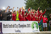 Karpatalya (RED) beat Northern Cyprus (WHITE) 3 -2 in penalties during the Conifa Paddy Power World Football Cup finals on the 9th June 2018 at Queen Elizabeth II Stadium in Enfield Town in the United Kingdom. Team mates from the Turkish Republic of Northern Cyprus  take on the Hungarians in Ukraine for the CONIFA World Football Cup final. CONIFA is an international football tournament organised by CONIFA, an umbrella association for states, minorities, stateless peoples and regions unaffiliated with FIFA. (photo by Sam Mellish / In Pictures via Getty Images)